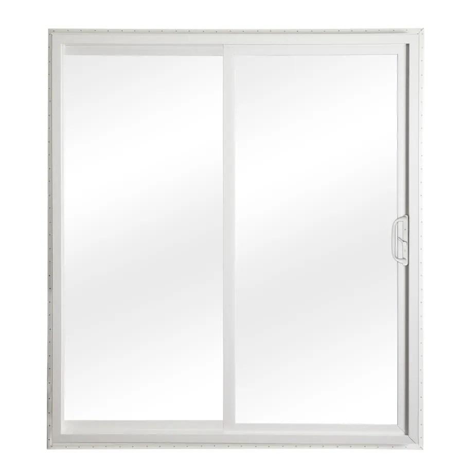 reliabilt 72 in x 80 in clear glass white vinyl universal reversible double door sliding patio door