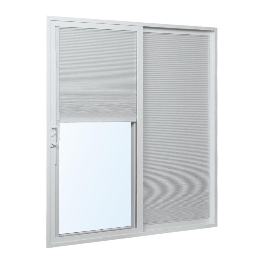 reliabilt 72 in x 80 in blinds between the glass white vinyl right hand double door sliding patio door