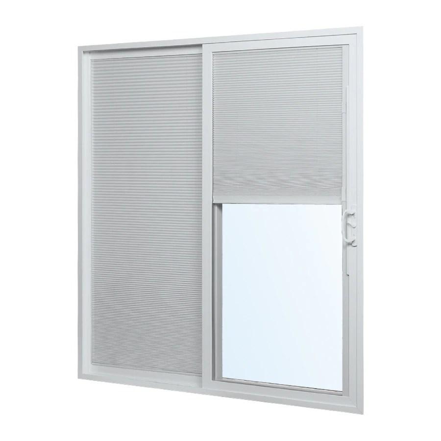 reliabilt 72 in x 80 in blinds between the glass white vinyl left hand sliding double door sliding patio door