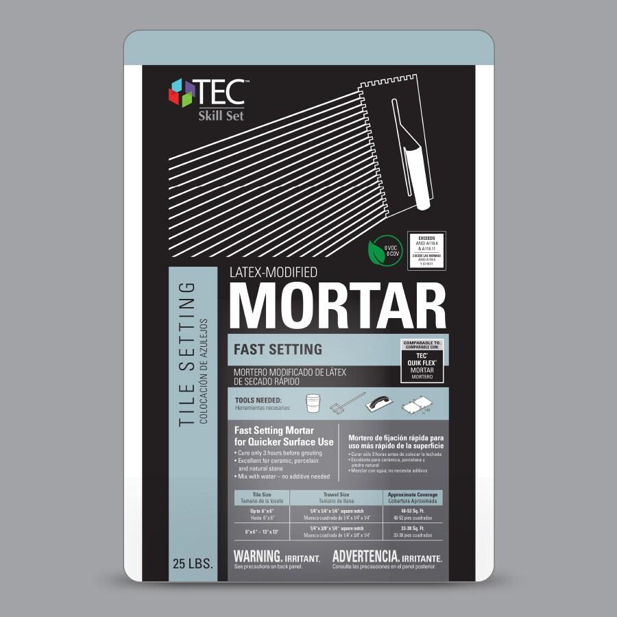 tec fast setting 25 lb gray thinset mortar tile mortar