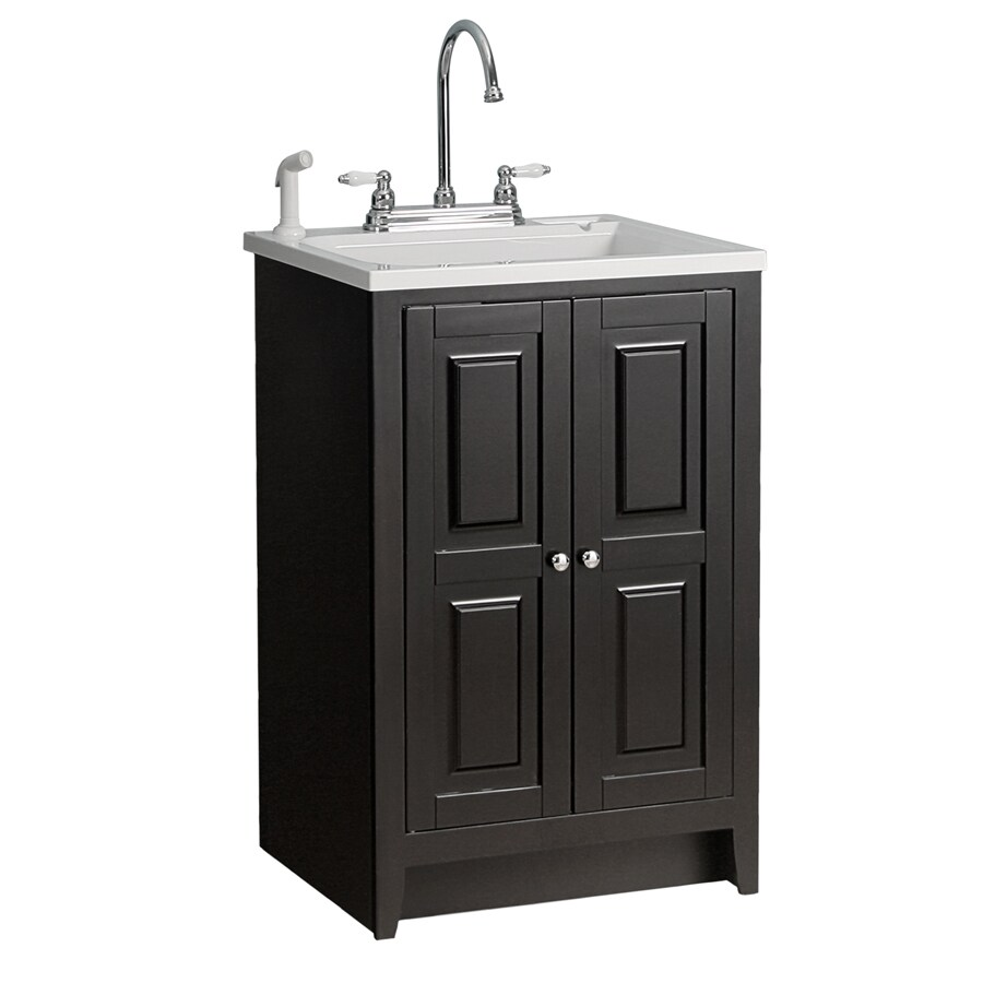 foremost casual 20 5 in x 15 in espresso freestanding plastic laundry utility sink with faucet