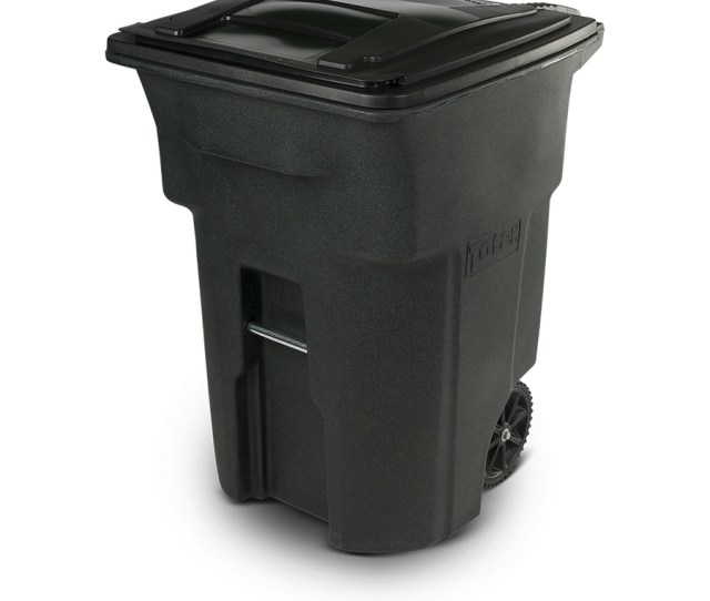 Toter Two Wheel Trash Can 96 Gallon Greenstone Plastic Wheeled Trash Can Lid
