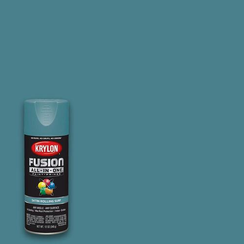 krylon fusion all in one satin rolling surf spray paint and primer in one net wt 12 oz lowes com