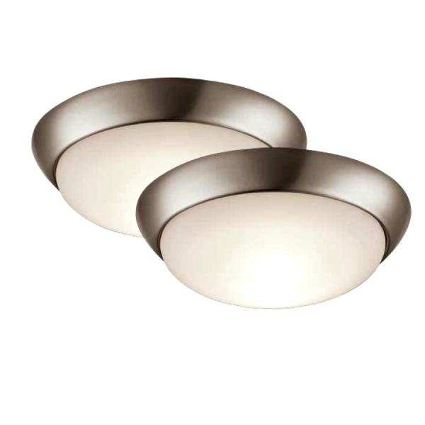 Shop Project Source 2 Pack 11 in W Brushed nickel LED Flush Mount     Project Source 2 Pack 11 in W Brushed nickel LED Flush Mount Light ENERGY