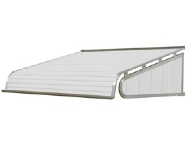 Nuimage Awnings  In Wide X  In Projection White Solid Slope Door Awning