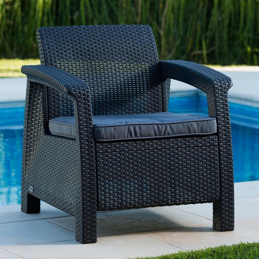 keter corfu rattan gray plastic frame stationary conversation chair s with charcoal cushioned seat