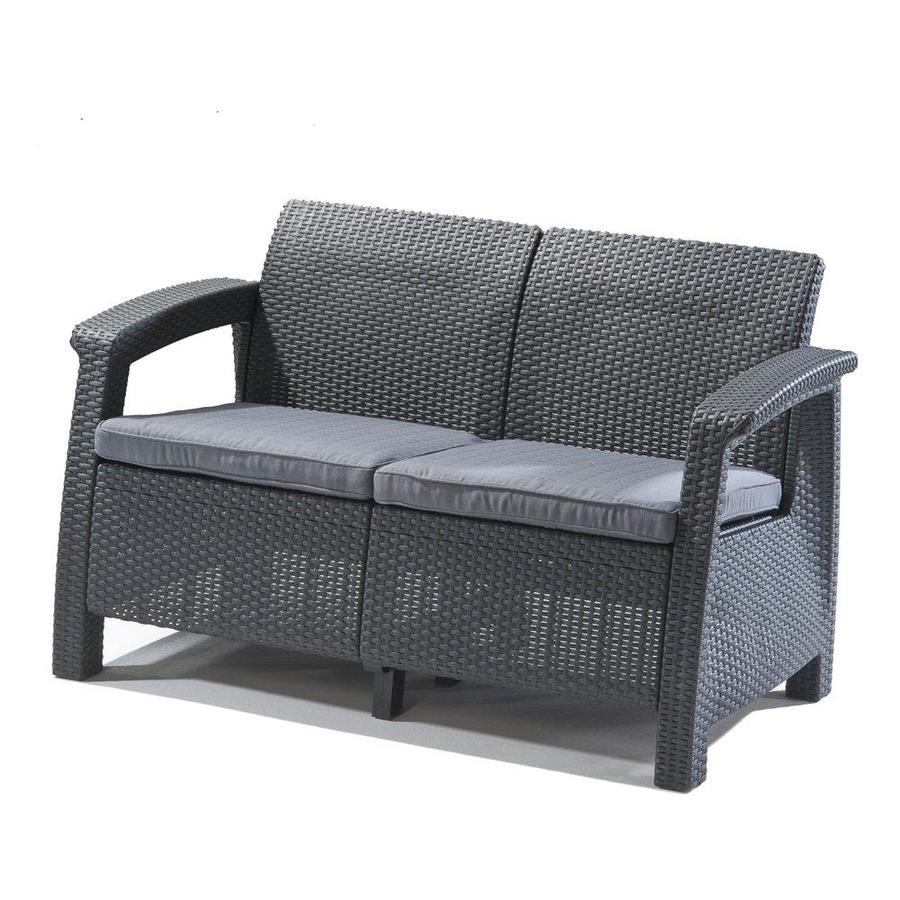 keter corfu wicker outdoor loveseat with cushion s and gray resin frame