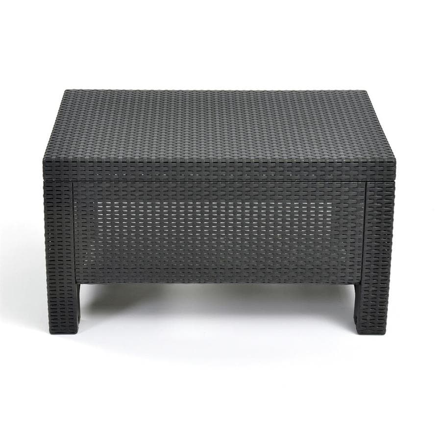 keter corfu rectangle rattan outdoor coffee table 22 4 in w x 30 3 in l with