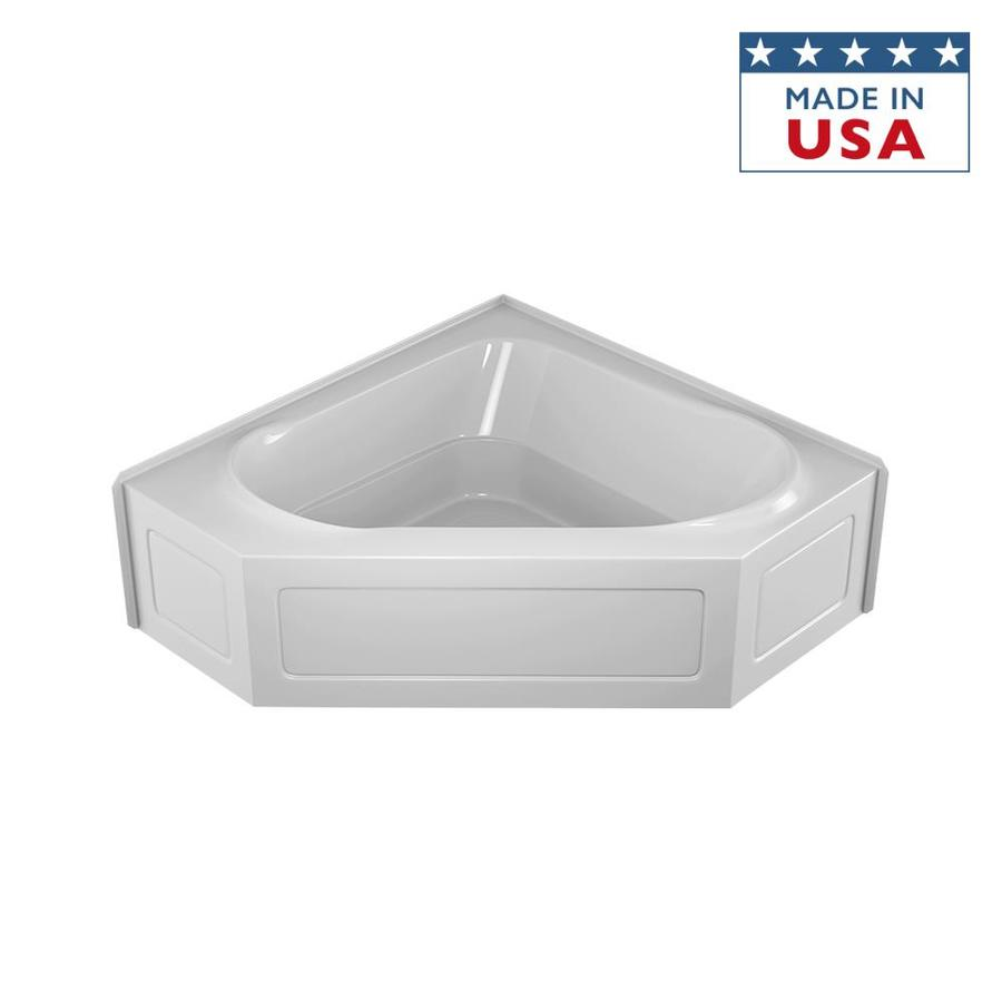 Shop Jacuzzi Capella Acrylic Corner Skirted Bathtub With Center Drain Common 55 In X 55 In