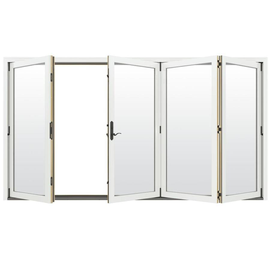 https www lowes com pd jeld wen clear glass brilliant white clad wood right hand outswing folding patio door common 124 in x 96 in actual 124 1875 in x 96 in 1000016155