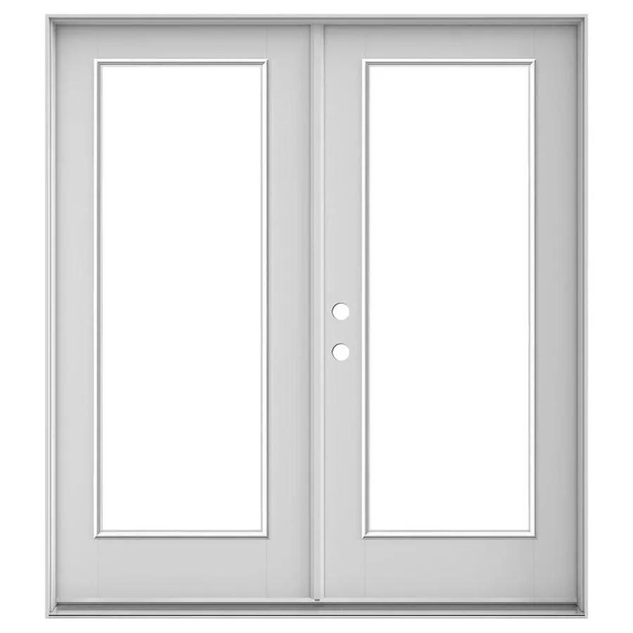 jeld wen 72 in x 80 in clear glass primed fiberglass right hand inswing double door french patio door