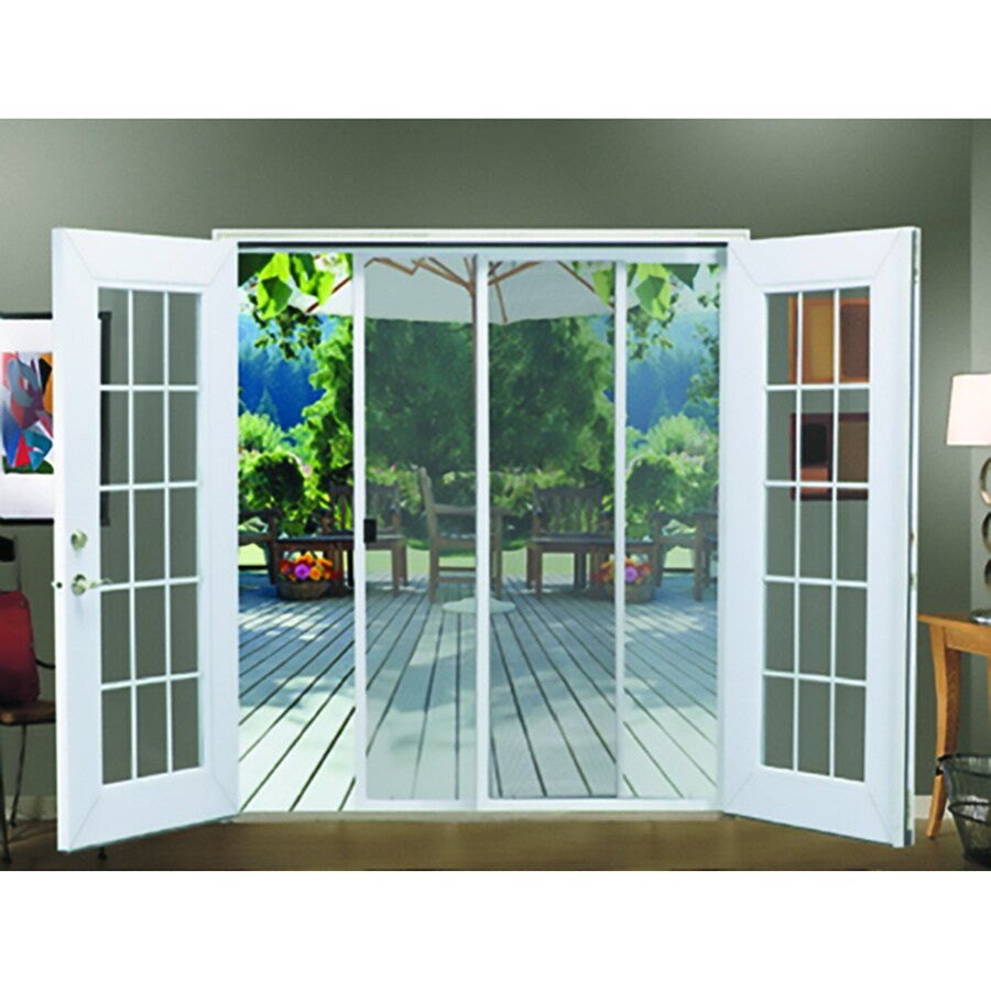 jeld wen 72 in x 80 in white aluminum frame sliding french door screen door