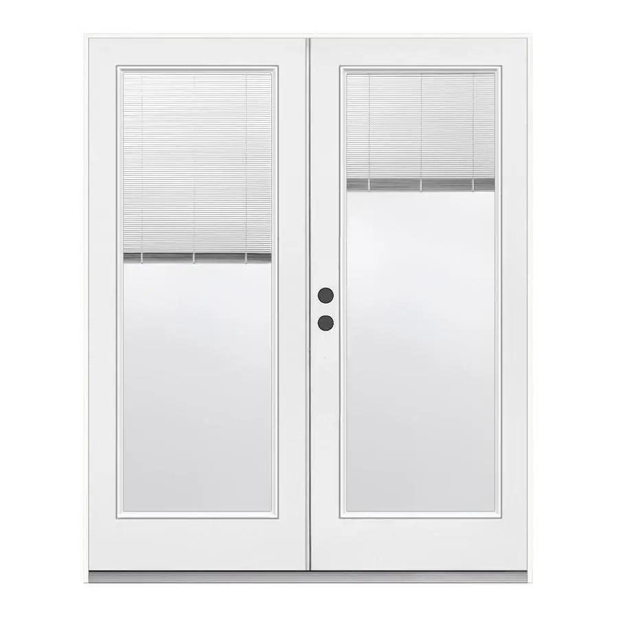 jeld wen 72 in x 80 in blinds between the glass primed steel right hand inswing double door french patio door