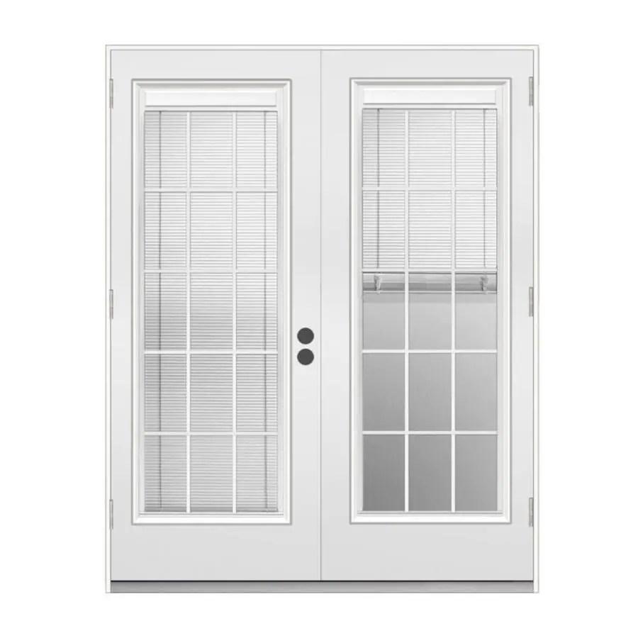 jeld wen 72 in x 80 in blinds and grilles between the glass primed steel right hand outswing double door french patio door