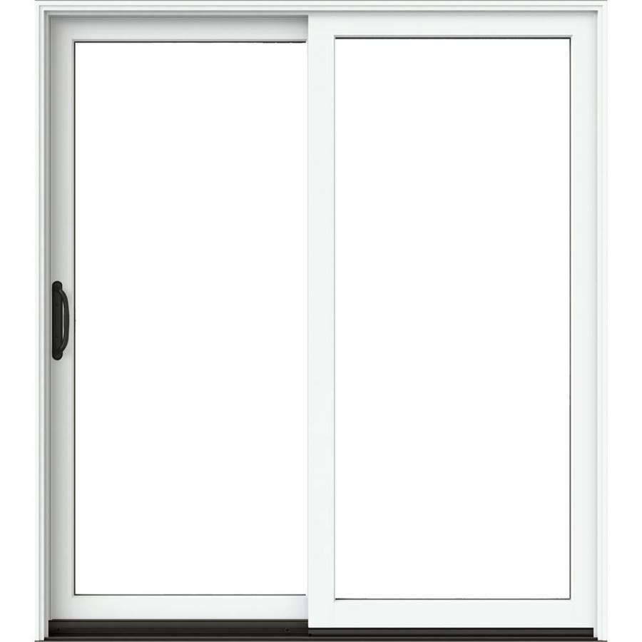 jeld wen 72 in x 80 in clear glass brilliant white clad wood left hand sliding double door sliding patio door
