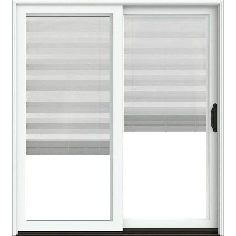 jeld wen 72 in x 80 in blinds between the glass brilliant white clad wood right hand double door sliding patio door