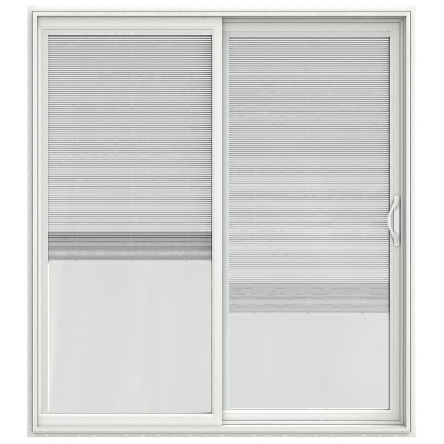 jeld wen 72 in x 80 in blinds between the glass white vinyl right hand double door sliding patio door
