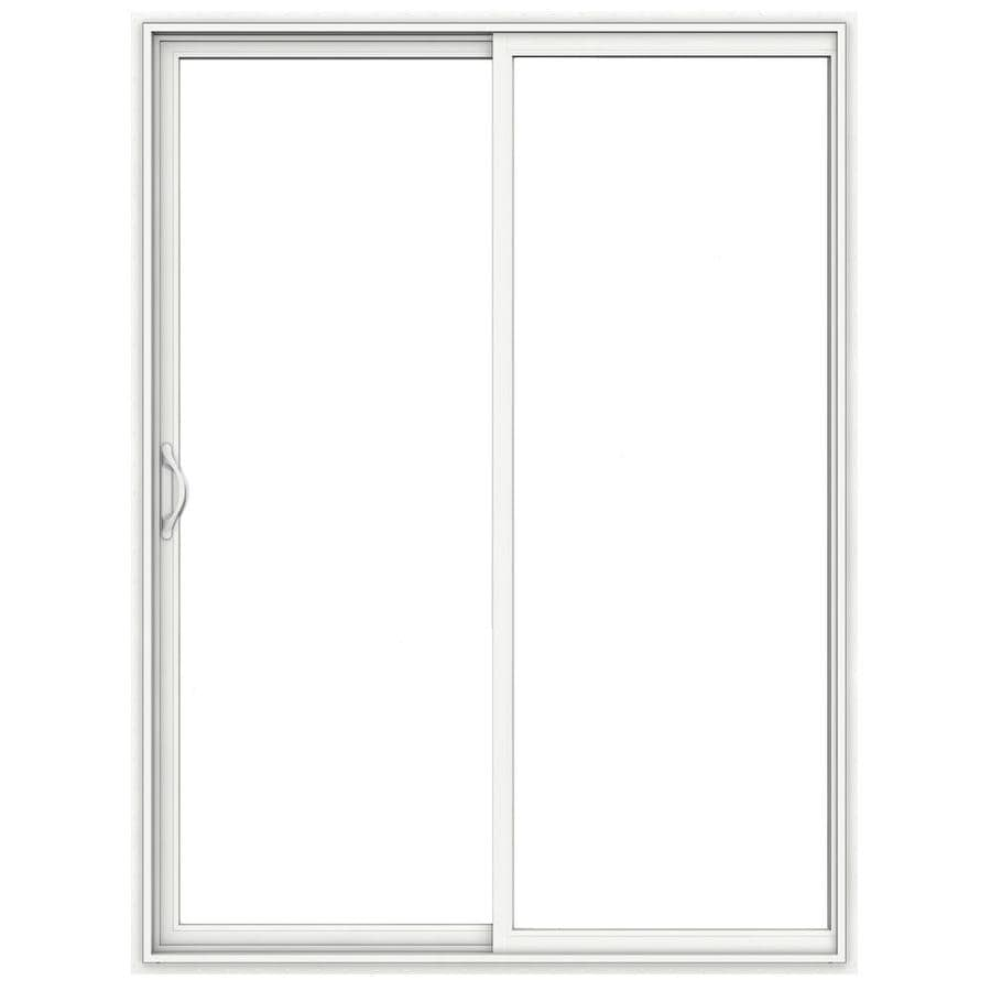 jeld wen 72 in x 96 in clear glass white vinyl left hand sliding double door sliding patio door