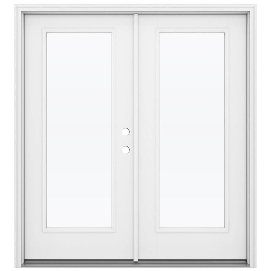 jeld wen 72 in x 80 in clear glass primed fiberglass left hand inswing double door french patio door