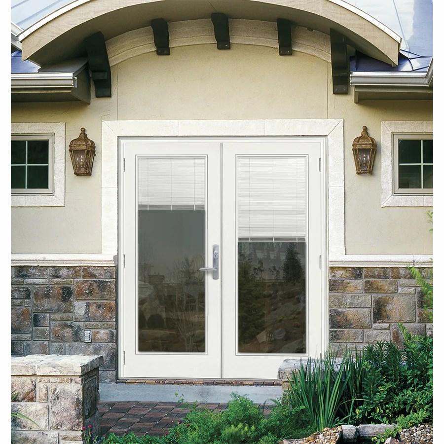 jeld wen 72 in x 80 in blinds between the glass primed fiberglass right hand outswing double door french patio door lowes com