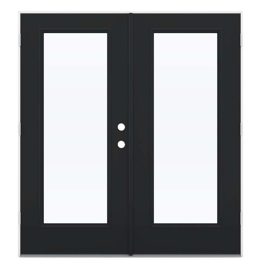 jeld wen 72 in x 80 in clear glass peppercorn steel right hand outswing double door french patio door