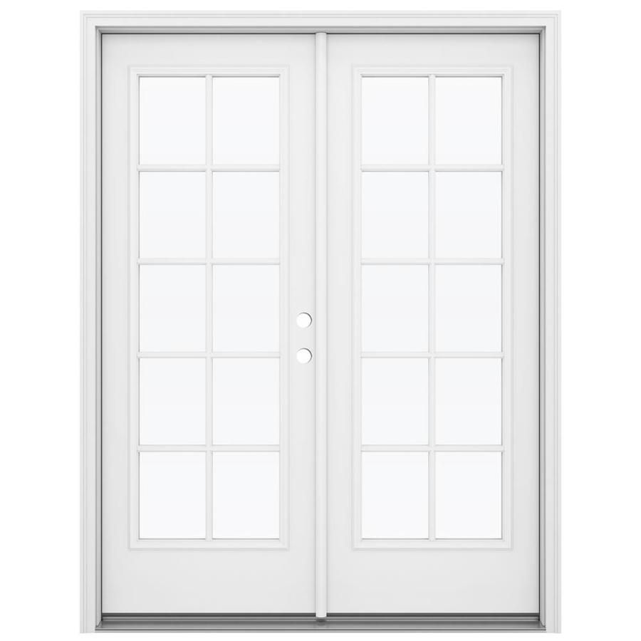 jeld wen 60 in x 80 in external grilles primed steel left hand inswing double door french patio door