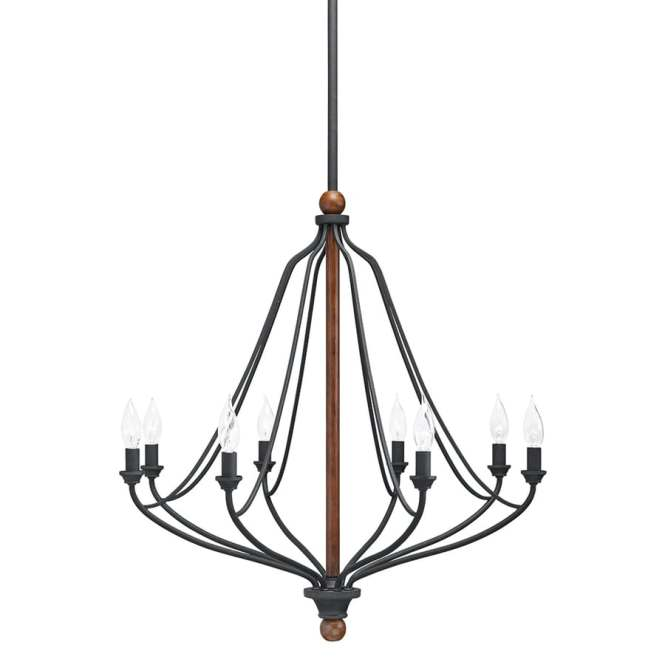 Kichler Carlotta 27 01 In 8 Light Distressed Black And Wood Williamsburg Candle Chandelier