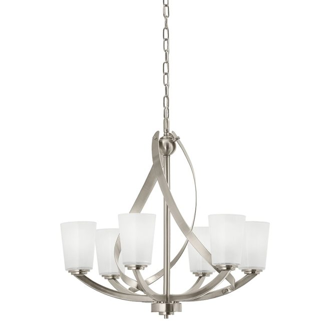 Kichler Layla 24 21 In 6 Light Etched Glass Shaded Chandelier