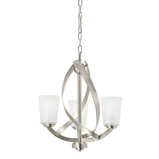 Kichler Layla 17 2 In 3 Light Brushed Nickel Textured Glass Shaded Chandelier