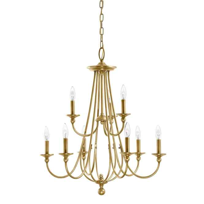 Kichler Camella 25 98 In 9 Light Natural Brass Williamsburg Candle Chandelier