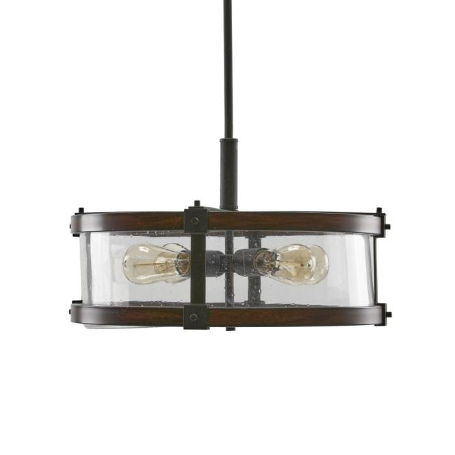 Kichler Barrington 18 In Distressed Black And Wood Rustic Hardwired Single Seeded Glass Drum Pendant