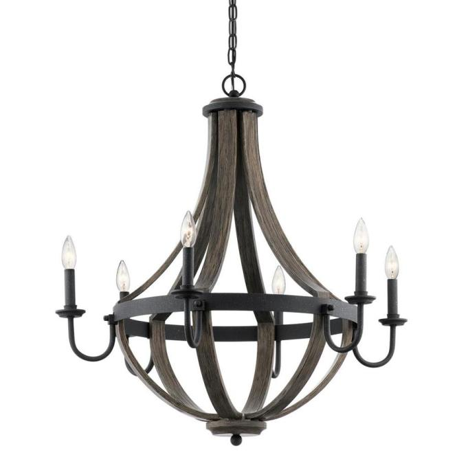 Kichler Merlot 30 In Distressed Black And Wood Barn Hardwired Candle Chandelier