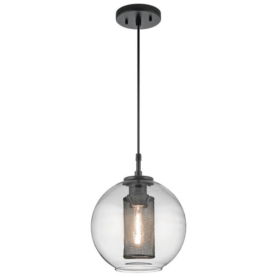 kichler edmund satin black and brushed nickel industrial clear glass globe pendant light