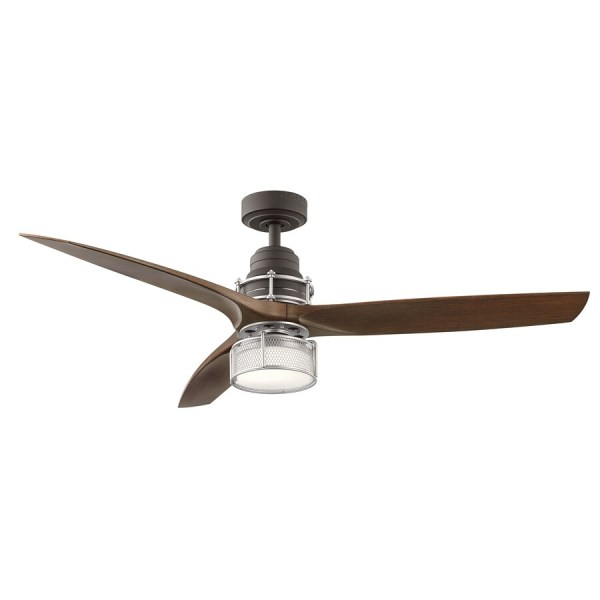 Shop Ceiling Fans at Lowes com Kichler 54 in Satin Natural Bronze With Brushed Nickel Accents LED Indoor  Downrod Mount Ceiling