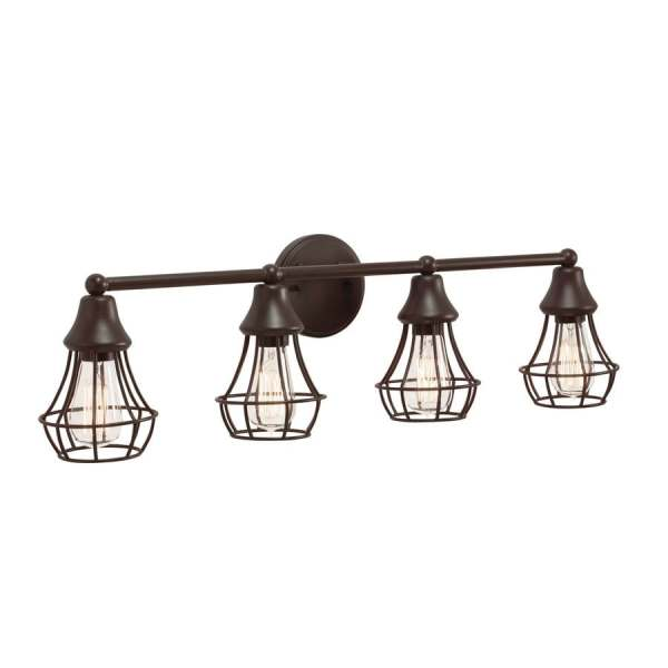 Shop Vanity Lights at Lowes com Kichler Bayley 30 51 in Olde Bronze Cage Vanity Light