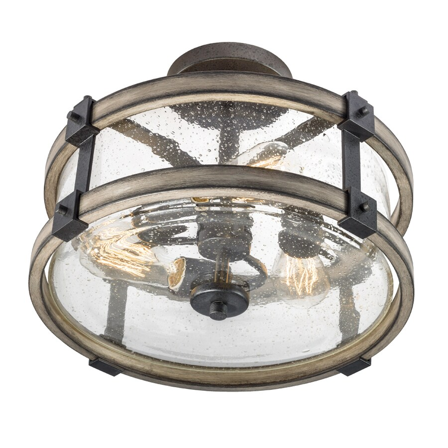 kichler barrington 14 02 in anvil iron and driftwood rustic lodge semi flush mount light