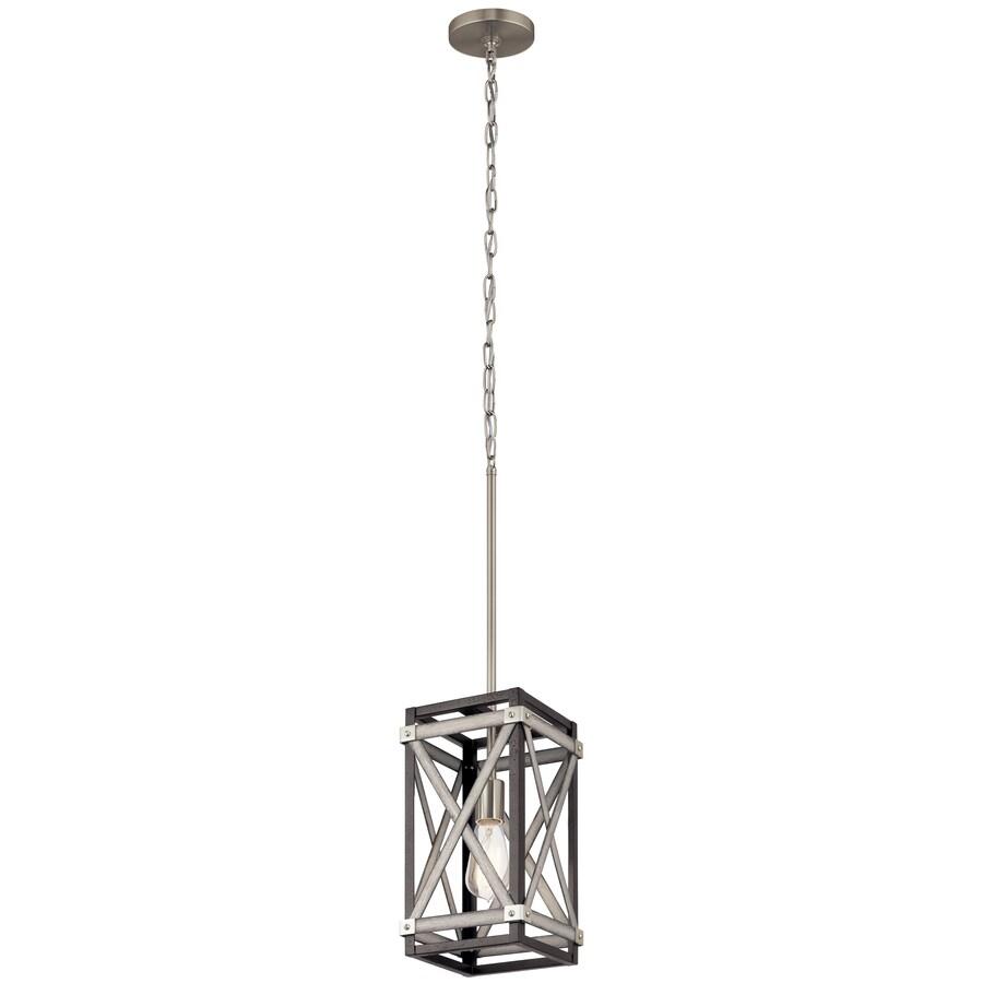 kichler stetton anvil iron and distressed antique grey farmhouse square mini pendant light