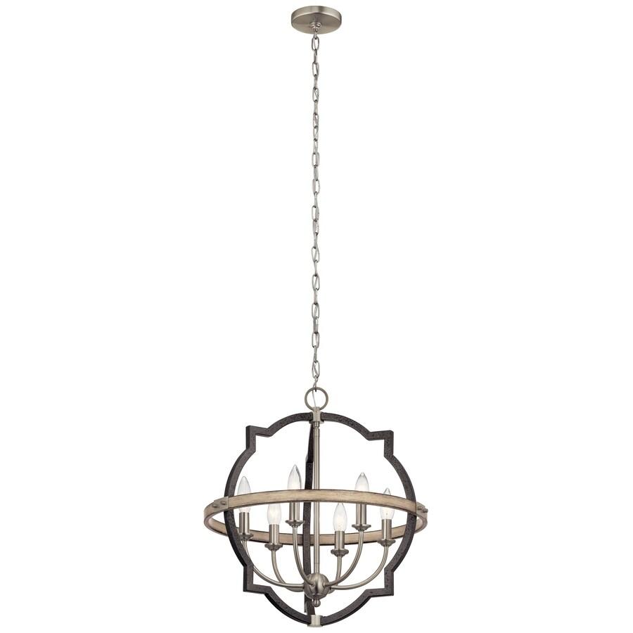 kichler elula 6 light anvil iron and distressed antique grey farmhouse chandelier lowes com