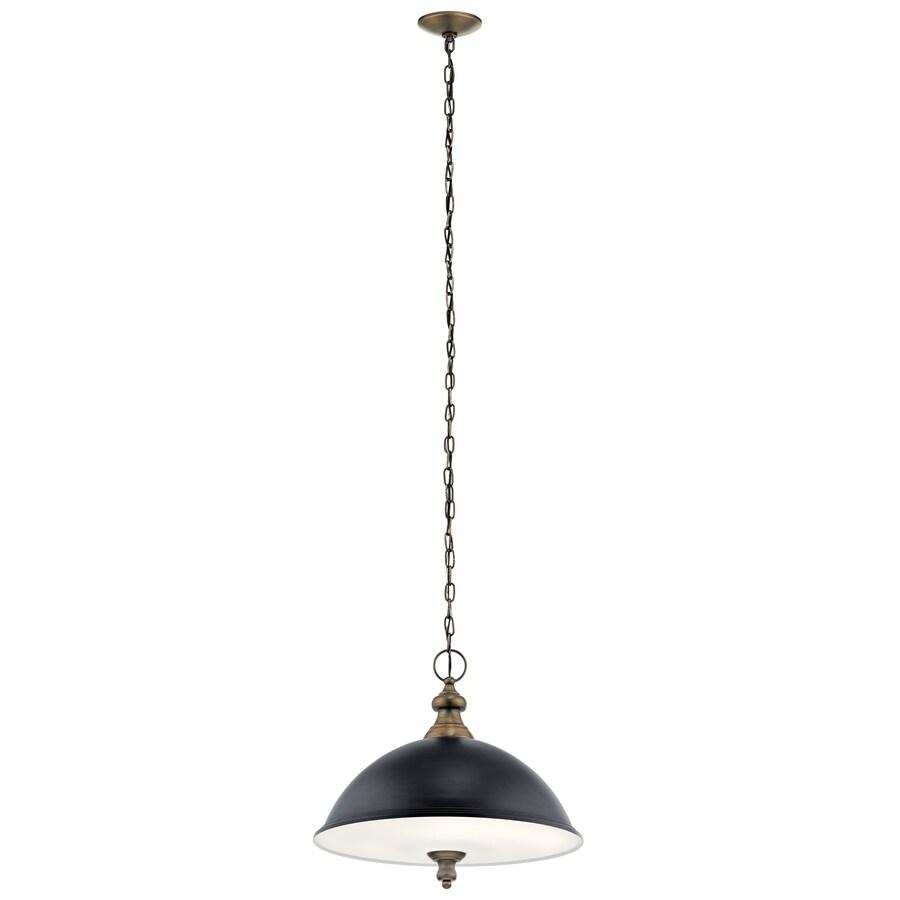kichler matte black and light antique brass modern contemporary etched glass bowl pendant light