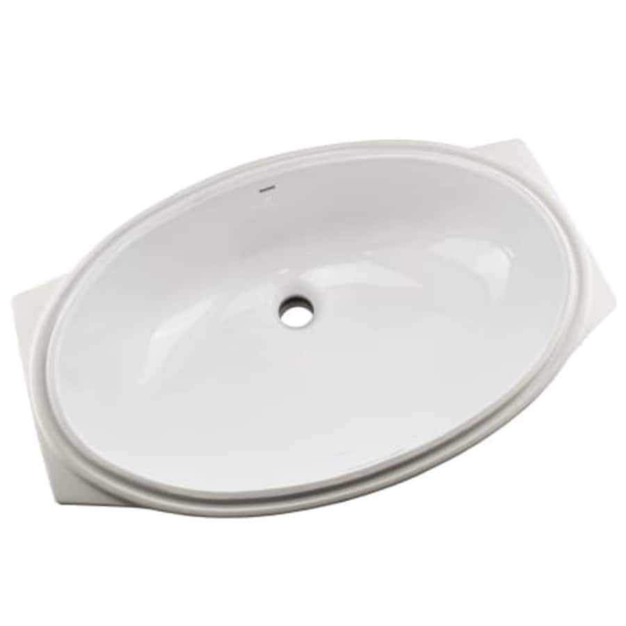 toto cotton white undermount oval bathroom sink with overflow drain 14 9375 in x 23 25 in
