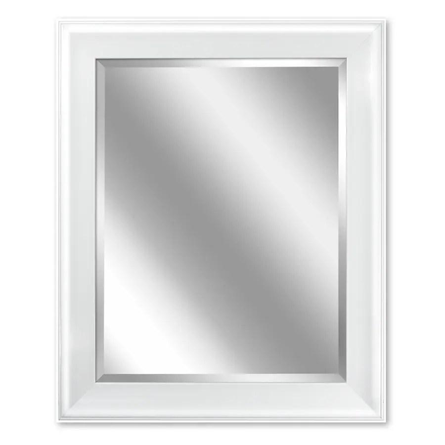 shop allen + roth 24-in x 30-in white rectangular framed bathroom