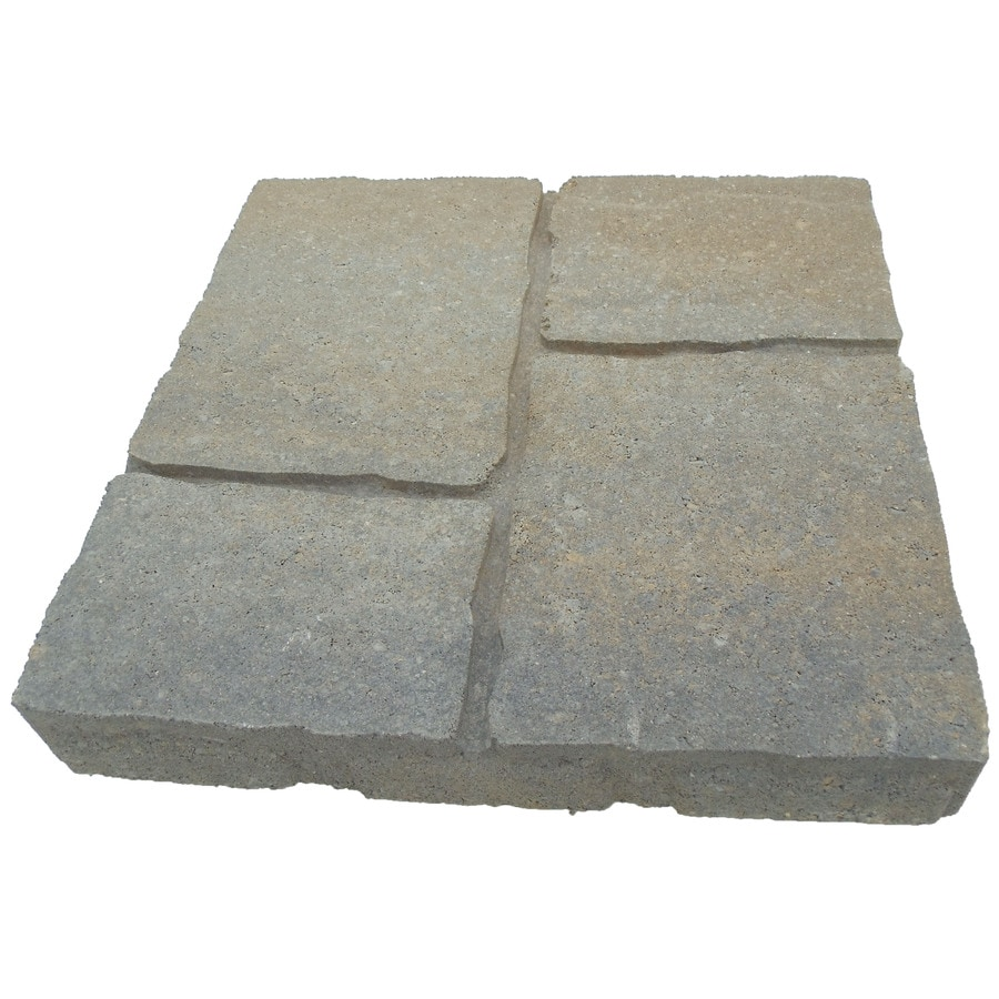 oldcastle four cobble 16 in l x 16 in w x 2 in h concrete patio stone lowes com
