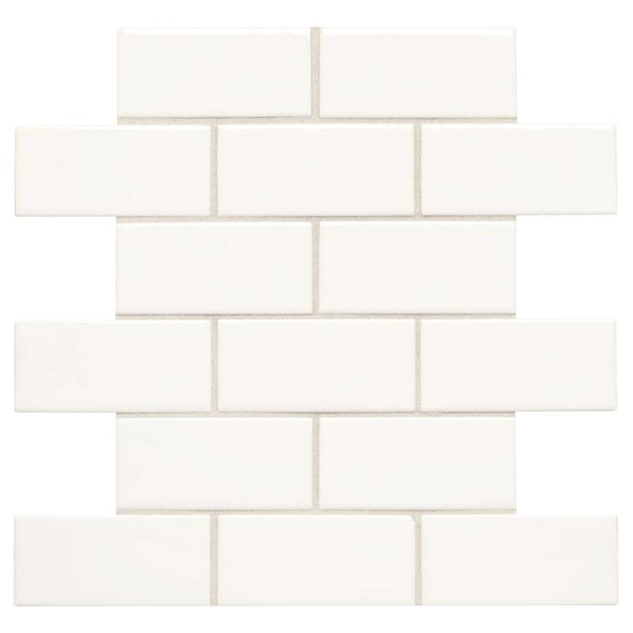 american olean starting line white gloss 12 in x 12 in glazed ceramic brick wall tile lowes com