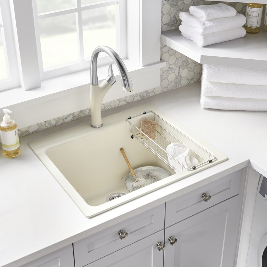 blanco 22 in x 25 in 1 basin biscuit off white undermount laundry sink