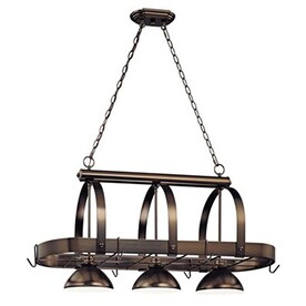 Cale 16 25 In W 3 Light Antique Bronze Lighted Pot Rack With Shade