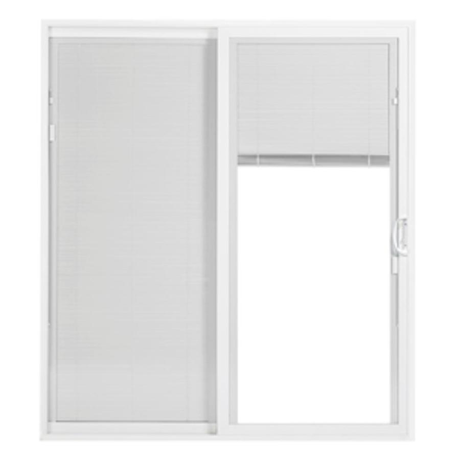 thermastar by pella 72 in x 80 in blinds between the glass vinyl right hand sliding patio door
