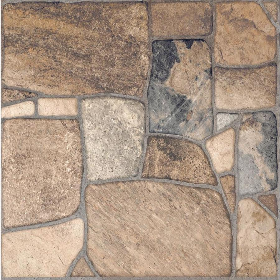 style selections savestro brown 17 in x 17 in matte ceramic slate stone look floor and wall tile lowes com