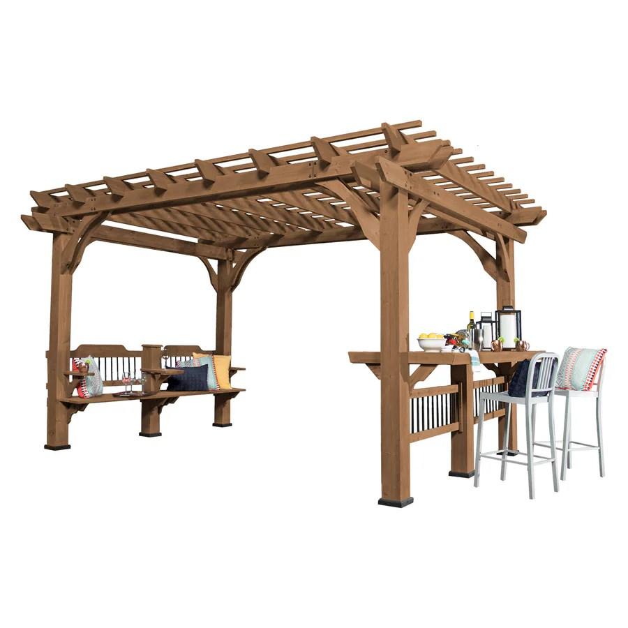 backyard discovery 10 x 14 oasis pergola 10 ft w x 14 ft l x 7 ft 10 3 4 in brown wood freestanding pergola