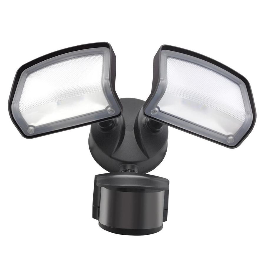 good earth lighting 240 degree 2485 lumen dual detection zone bronze hardwired integrated led motion activated flood light with timer
