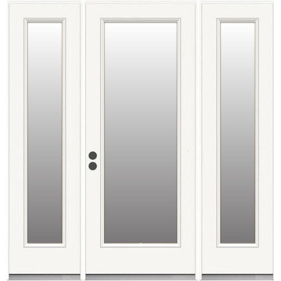 reliabilt steel patio door 72 in x 80 in clear glass steel right hand inswing french patio door with screen